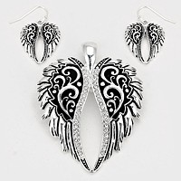Filigree Wings Pendant Set