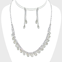 Crystal Rhinestone Teardrop Collar Necklace