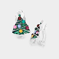 Crystal Accented Enamel Christmas Tree Clip On Earrings