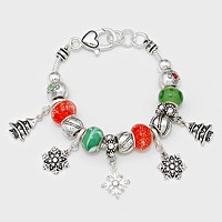 Multi Beaded Christmas Snow Flake Bracelet