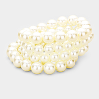5PCS Multi Strand Pearl Stretch Bracelet