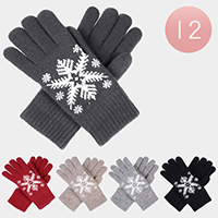 12-Pairs Fleece Lined Snow Flake Knit Gloves