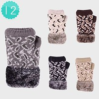 12-Pairs Leopard Pattern Knit Fur Fingerless Gloves