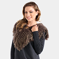 Button Accented V-Neck Collar Fringe Scarf