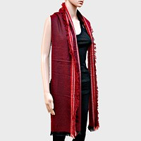 Stripe Accented Scarf with Raw Fringe Trim