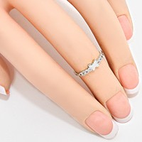 Crystal Accented Butterfly Midi Ring