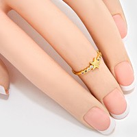 Crystal Accented Star Midi Ring