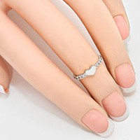 Crystal Accented Heart Midi Ring