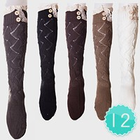 12-Pairs Button & Lace Long Knit Stocking Socks