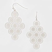 Diamond Shaped Floral Metal Earrings