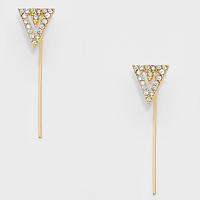 Crystal Accented Delta Ear Pin Earrings