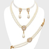 3-PCS Crystal Accented Pearl Necklace Jewelry Set