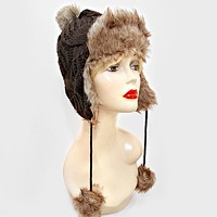 Fleece Lined Knit Pom Pom Earflap Hat