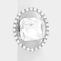Pave trim glass crystal stretch ring