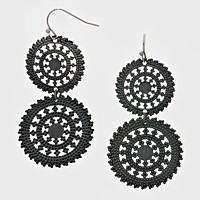 Metal Double Wheel Drop Earrings