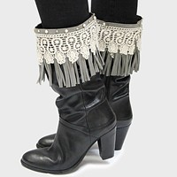1-Pair Lace Accented Suede Fringe Boot Toppers