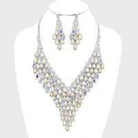 Layered Teardrop Crystal Rhinestone Cluster Evening Necklace