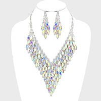 Layered Marquise Crystal Rhinestone Cluster Evening Necklace