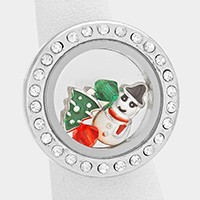 Christmas Snow Man Crystal Floating Locket Stretch Ring