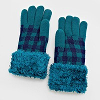 Plaid Check Fur Gloves