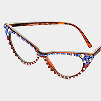 American Flag _ Crystal Cat Eye Clear Lens Sunglasses