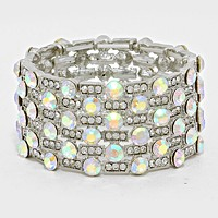 Crystal Rhinestone Bangle Stretch Evening Bracelet