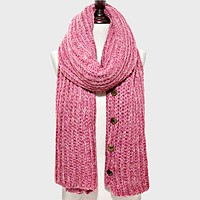 Button up Cardigan Effect Knit Yarn Shawl Scarf