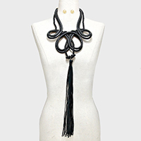 Long Leather Tassel Drop Rope Necklace
