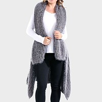 Draped Mohair Effect Knit Long Vest Cardigan