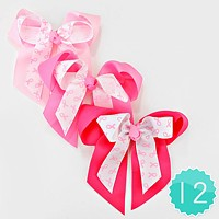 12 PCS - Pink Ribbon Symbol Print Double Bow Hair Clip Pins