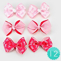 12 PCS - Pink Ribbon Symbol Print Bow Hair Clip Pins