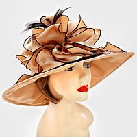 Dressy Lace Satin Feather Hat