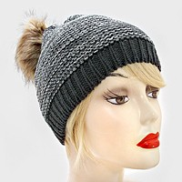 Pom Pom Fur Two Tone Knit Yarn Beanie