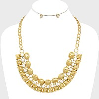 Crystal Accented Metal Dome & Stud Link Fan Bib Necklace
