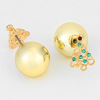 Double Sided Ornament Ball & Crystal Christmas Tree Stud Earrings