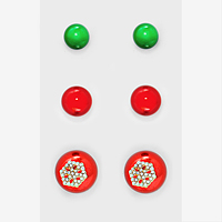 3-Pairs Christmas Ornament Ball & Crystal Snow Flake Stud Earring Set