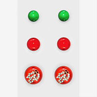 3-Pairs Ornament Ball & Crystal Christmas Flower Stud Earring Set