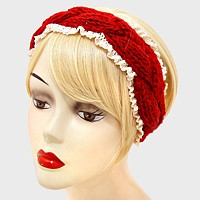 Braided Cable Knit Lace Earmuff Headband