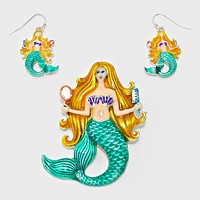Enamel Mermaid Pendant Set