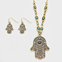 Evil Eye Hamsa Hand Pendant Necklace