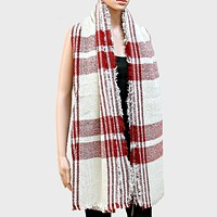 Plaid Check Shawl Scarf with Raw Fringe Trim