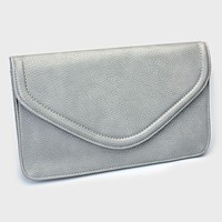 Leather Envelope Clutch Bag with Detachable Chain Strap