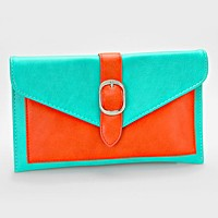 Color Block Buckle Envelope Clutch Bag with Detachable Chain Strap