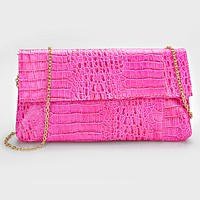 Crocodile Skin Clutch Bag with Detachable Chain Strap