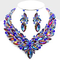 Marquise Crystal Rhinestone Cluster Collar Evening Necklace