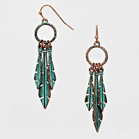 Vintage Patina Feather Drop Hoop Earrings