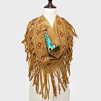 3-Way Aztec Bird Suede Fringe Scarf