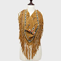3-Way Aztec Arrow Pattern Suede Fringe Scarf
