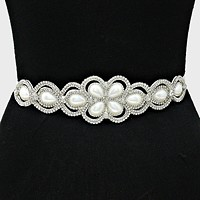 Bridal Wedding Crystal Pearl Ribbon Belt / Headband