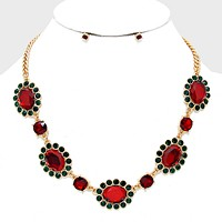 Floral Christmas Light Crystal Rhinestone Necklace